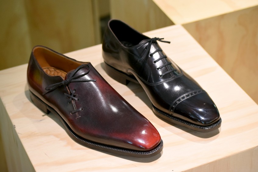 A side-laced wholecut and the unique asymmetrical oxford - both come with interesting custom patinas; even Norman's black shoes show subtle colour variations