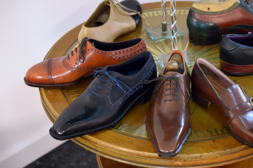 Bespoke samples on display - the starting price for a bespoke pair is 3500 €