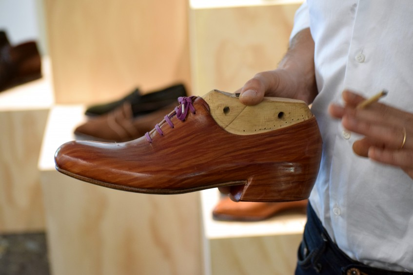 One of Norman's conceptual designs, handmade using only the bare minimum of shoemaking tools