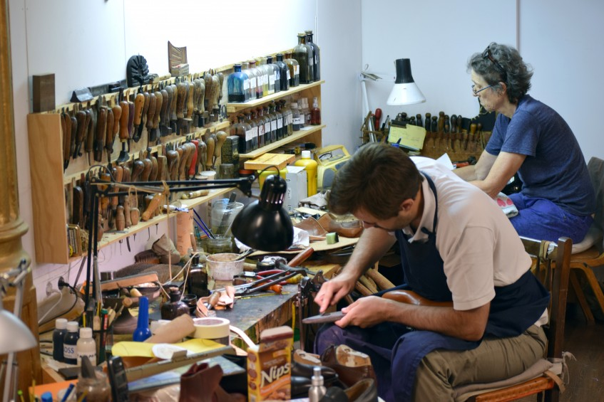 Skilled shoemakers Alfonso Caicoya and Krysia Janiurek at work in Norman Vilalta's bespoke atelier - Krysia has decades-long experience at John Lobb Ltd, St. James's Street