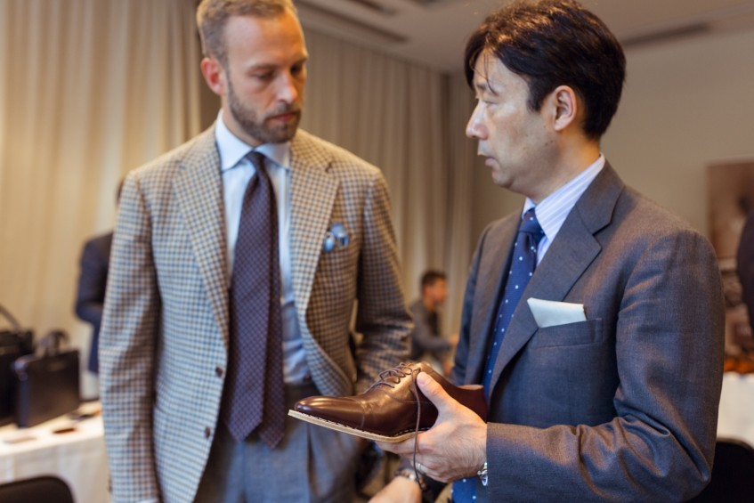 Andreas Weinås of Manolo.se in discussion with Hiro Yanagimachi, one of Japan's foremost bespoke makers