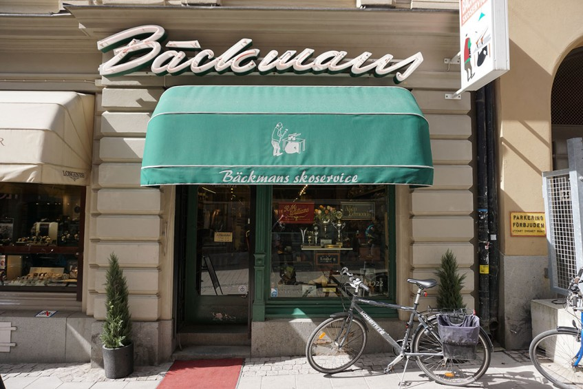 Store front of Bäckmans Skoservice at Nybrogatan 23 in central Stockholm - Bäckmans being the family name of the founder and skoservice meaning shoe service