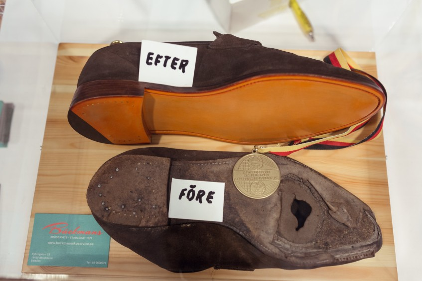 2016 Germany World Cup entry shoes: a pair of completely worn through penny loafers from classic English maker Church's, before and after repair