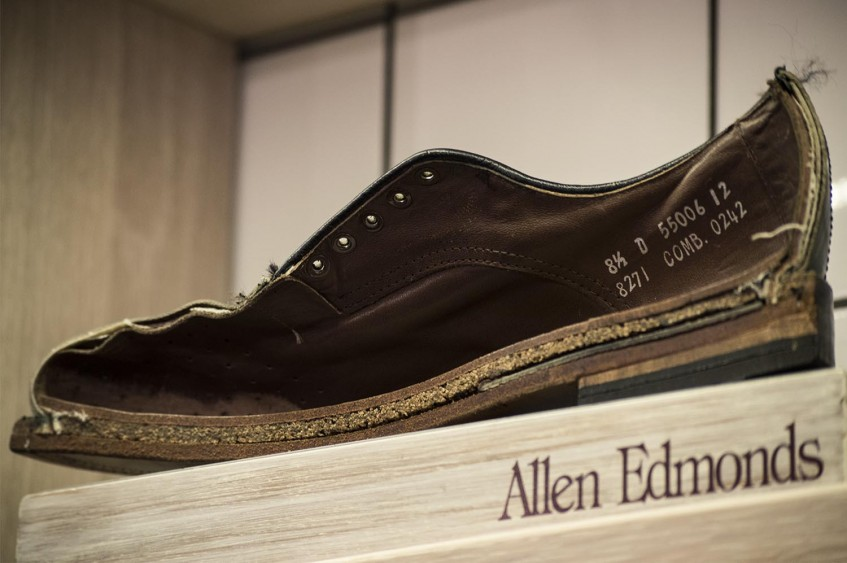 Allen Edmonds shoe cut in half to display the Goodyear welt construction