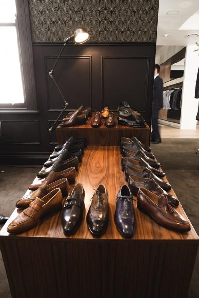 Beautiful arrangement of bespoke shoe samples at The Cloakroom in Brisbane, Australia.