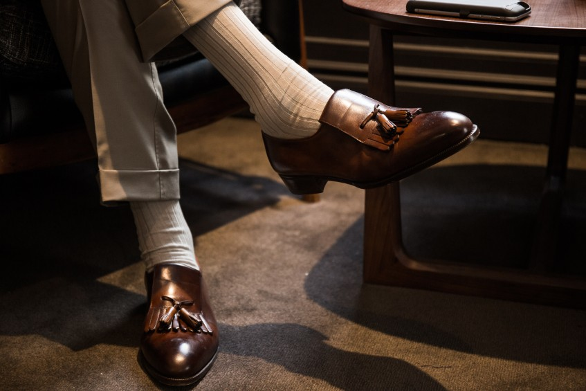 Shoes of the maker. Donning a pair of beautifully made Bocache & Salvucci fringe tassel loafers.