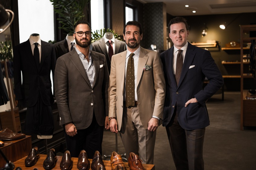 From left to right: Vinny Bassi, Gianluca Bocache and Aidan Chappell. Vinny and Aidan sat down with Gianluca at Brisbane haberdashery The Cloakroom to learn more about the brand and its modus operandi.