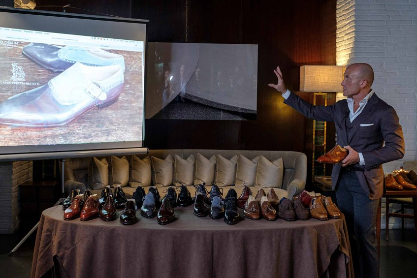 Marco Facchinetti, the new owner of the Riccardo Freccia Bestetti shoe brand in the midst of his presentation at Hotel Portrait Firenze