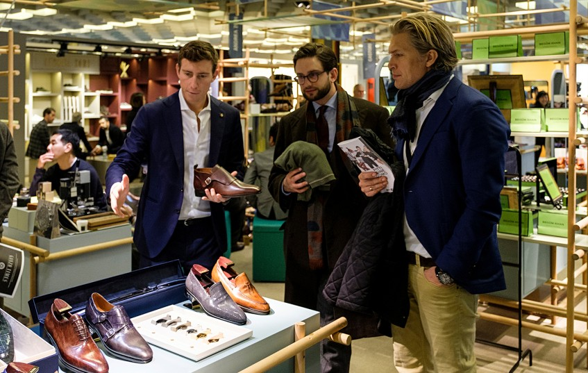 Bruno Riffeser Monti, founder of Fanga, with Hannes Rebas and Björn Kvarby of The World of Shoes