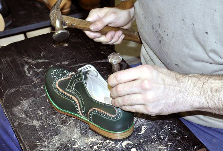 'I am always looking at shoes and considering new ideas. Once we have found something deserving to be made into a test shoe, we draw it by hand. Then our modeller creates a model. Following the new pattern, we make a test shoe. We