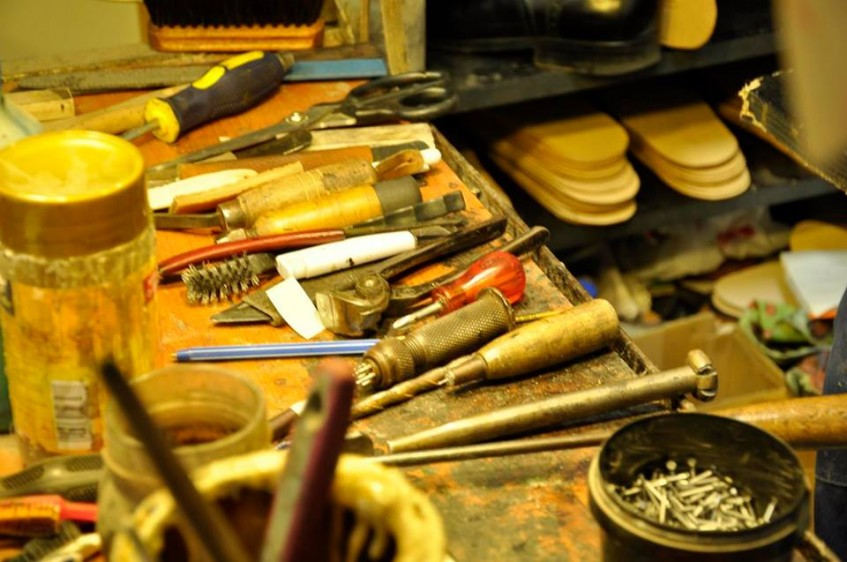 Tools of the trade at the Buday Shoes workshop.