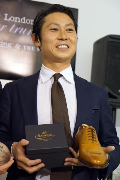 The World Champion of Shoe Shining, Yuya Hasegawa of Brift H, Tokyo.