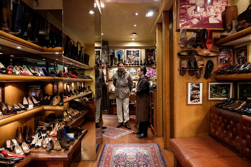 Hannes Rebas, Antonio Mannina and Giovanni Lorenzo at Mannina's ready-to-wear shop.