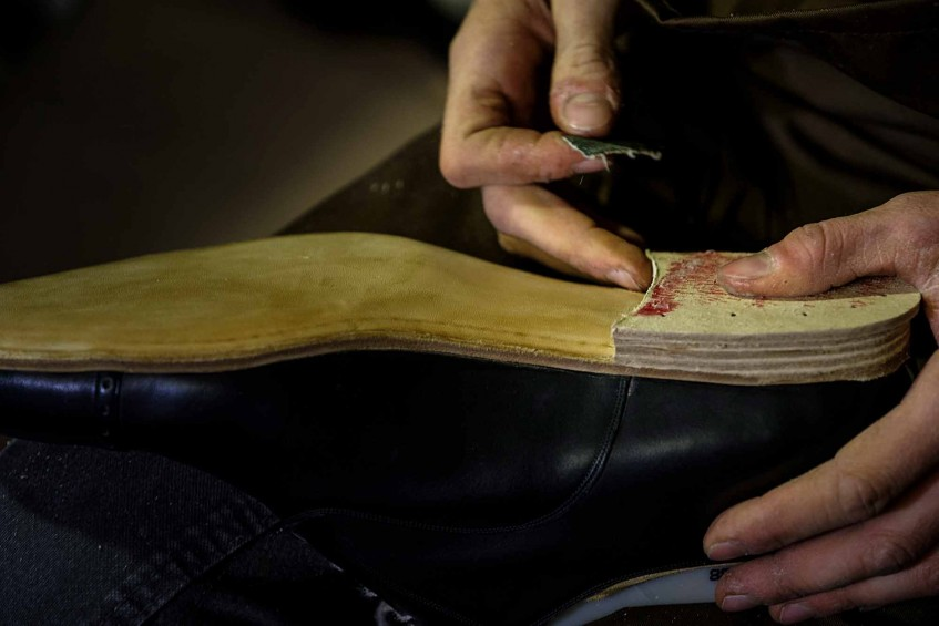 Building the heel of a bespoke pair.