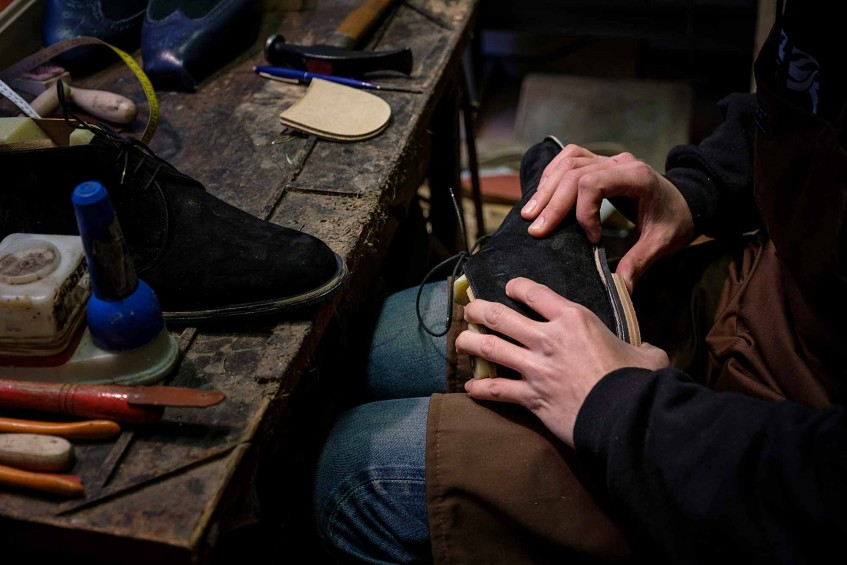 Bespoke suede Chukka boots in the making.