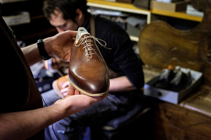 Bespoke punched wholecut oxford at the finishing stage.