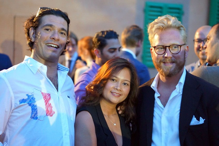 Philip Linde, Suong Le, Andreas Klow at the Plaza Uomo party