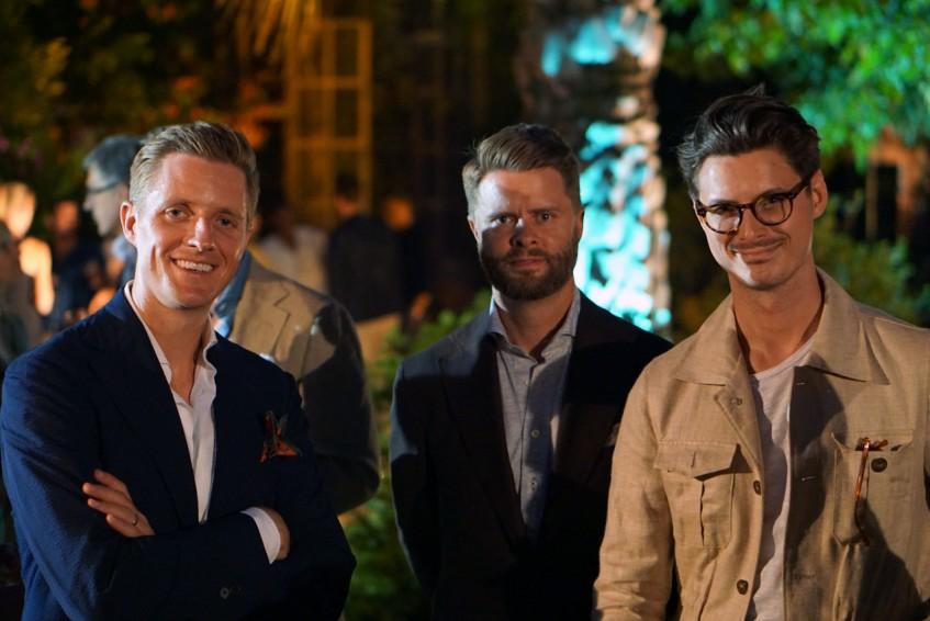Derek Bleazard, Jason Yeats, Steve Calder at the Plaza Uomo party