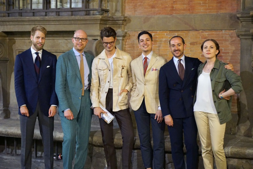 Robin Håkansson, Jussi Häkkinen, Steve Calder, Carlo van den Broeck, Benedikt Fries, Anu Rautalin outside Palazzo Budini Gattai and the Plaza Uomo party