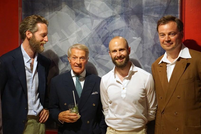 Patrik Löf, Henrik Hjerl, Simon Crompton, Torsten Grünwald at the Pommella Napoli party
