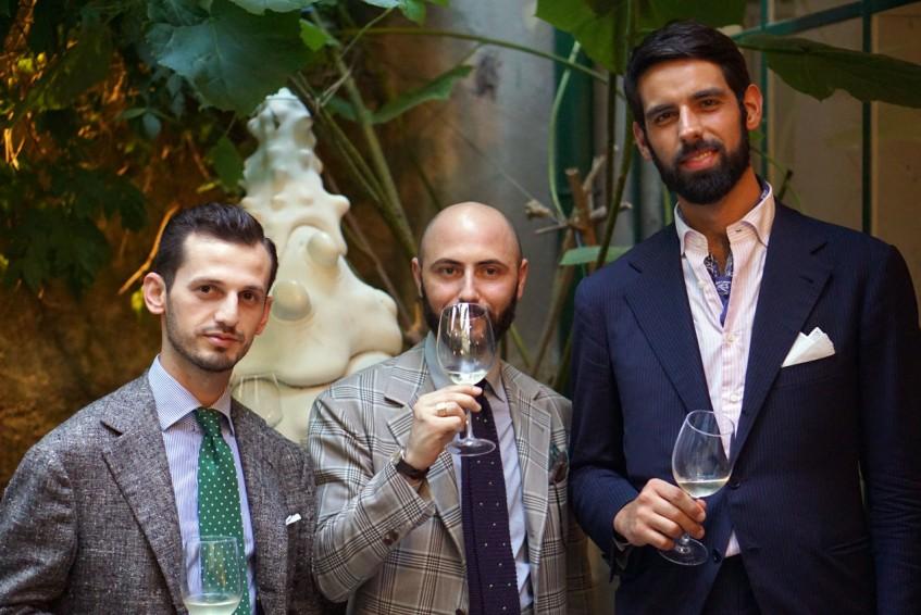Tailors of Liverano & Liverano: Qemal Selimi, Vittorio Salino, Renzo Ruggi at the Pommella Napoli party