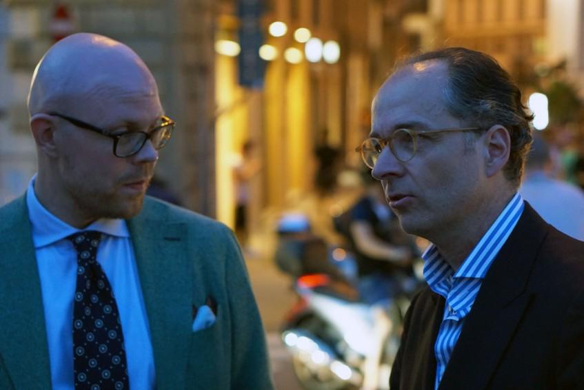 Jussi Häkkinen chatting with Bernhard Roetzel