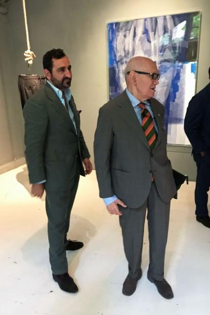 Gianluca Migliarotti and master tailor Antonio Liverano of Liverano & Liverano at the Pommella Napoli party
